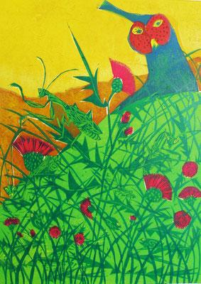 2011年 木版画「緊張の糸を切らないで」