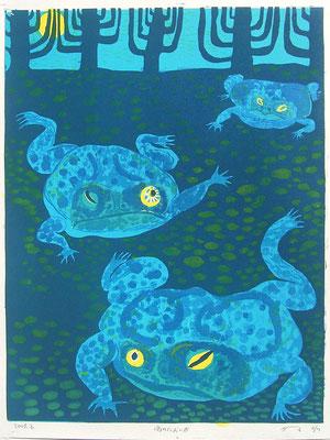 2009年 木版画 「雨のにおいが」