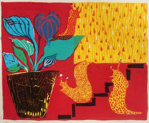 2008年 木版画 「今日は雨」