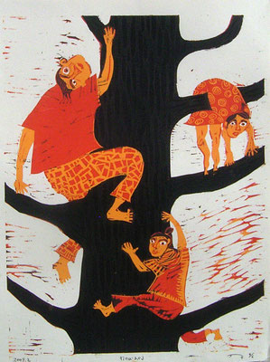 2009年 木版画 「行けばわかる」