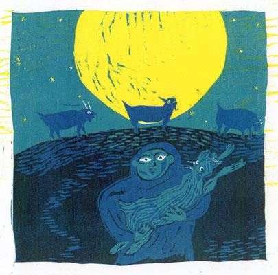 2010年 木版画 「ヤギが逃げた夜」
