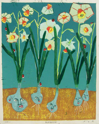 2009年 木版画 「私が咲かせます」