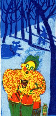 2011年 木版画 「動物のかん」
