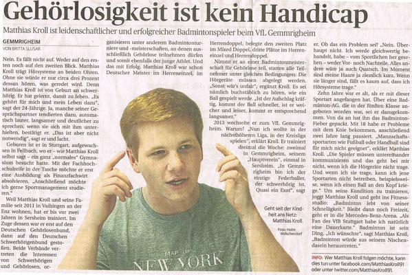 Interview im Neckar-Enz-Boten