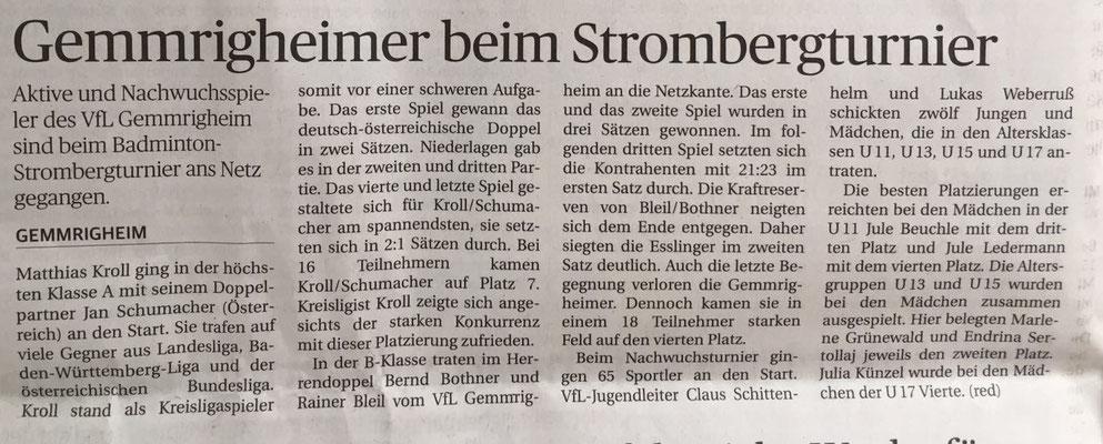 Bericht Strombergturnier Illingen 2016