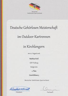 Urkunde Herreneinzel 2. Platz