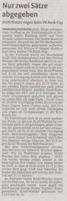Bericht in der vkz zum Vr-Bank-Cup Pirmasens