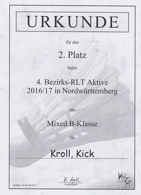 Urkunde Mixed 2. Platz Sarit Kick und Matthias Kroll