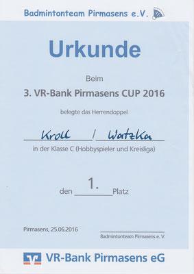 Urkunde Herrendoppel 1. Platz VR-Bank-Cup Pirmasens