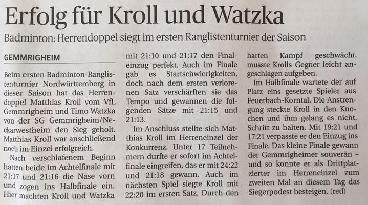 Bericht Neckar-Enz-Bote Ranglistenturnier Feuerbach 2016