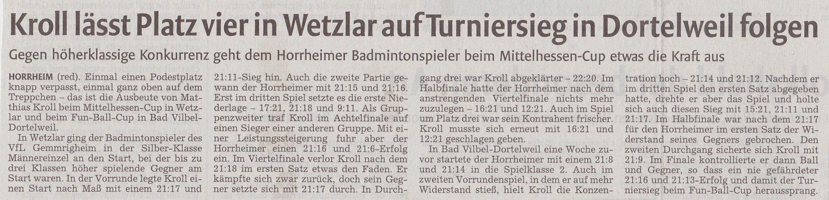 Bericht Hessen-Cup Wetzlar 2016