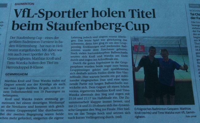 Bericht Staufenberg-Cup Heilbronn 2015