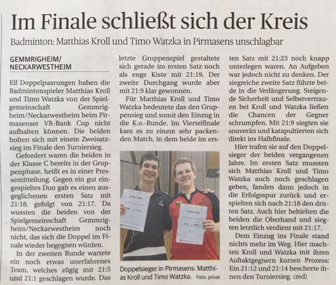 Bericht im NEB zum VR-Bank-Cup Pirmasens