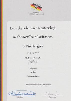 Urkunde Teamrennen 3. Platz