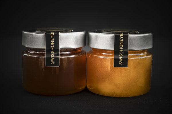 Honiggläser von der Seite