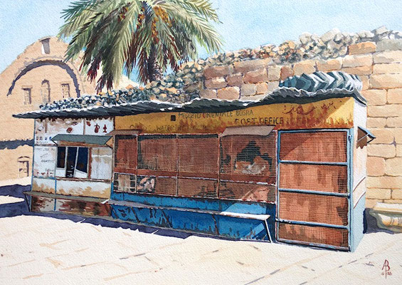 Syria: closed until further notice - water media on heavy paper, 11 x 16 inches (28 x 40 cm). Selected for final judging, Sunday Times Watercolour Competition 2017. Special Merit, Light Space & Time competition Jan 2018. 1005 entries from 29 countries.