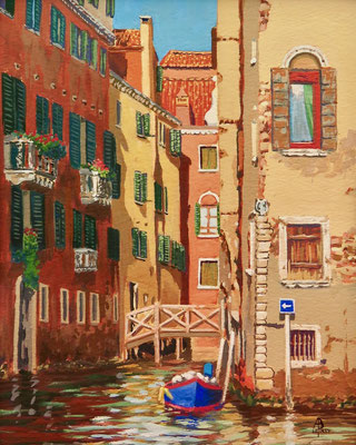 Venetian colours - Gouache, 10 x 8 inches (25 x 20 cm).  Special Recognition Award, Light Space & Time  international competition 2021.
