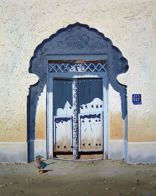 Bayt 562, Muscat, Oman - Acrylic and sweepings from shed floor! 30 x 24 inches (76 xx 61 cm) - Owned by Self
