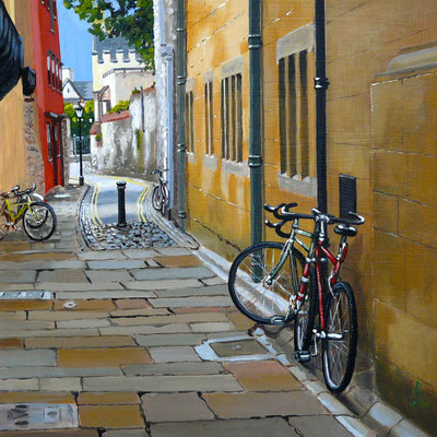 Magpie Lane, Oxford - acrylic on gessoed card, 12 x 12 inches (30 x 30 cm).  Private client.
