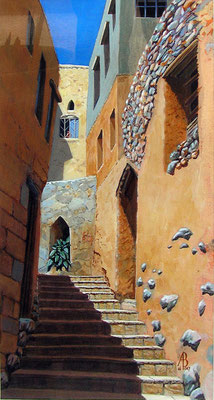 Alleyway, Jebel Akhdar village, Oman - Acrylic.  Private client.