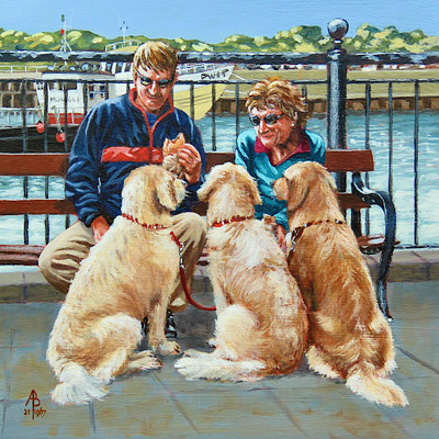 Pooches and Pasties, Padstow - Acrylic, 8 x 8 inches (20 x 20 cm)