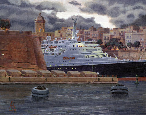 QE2: Final Farewell to Malta, Nov 2008 - Acrylic.  Private client