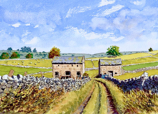 Barns, Peak District, Derbyshire - Pen and watercolour, 6 x 10 inches (15 x 25 cm).  Private client