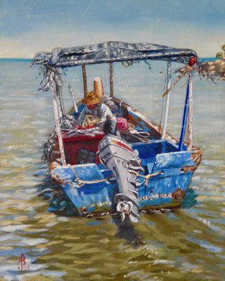 Sorting the catch, Penang - Oil, 10 x 8 inches (25 x 20 cm).