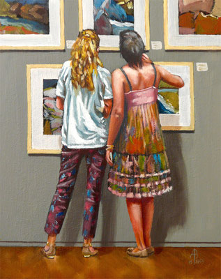 Gallery girls - Oil on MDF, 10 x 8 inches (26 x 20 cm).  Private client.