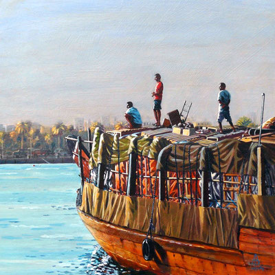 Sailing on the Evening Tide, Dubai - Acrylic.  Private clien