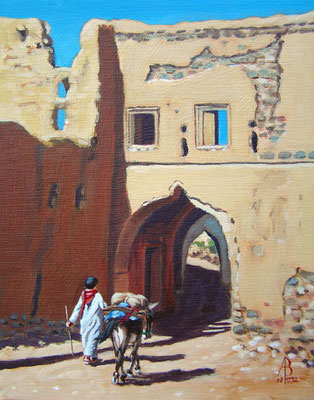 Boy with a donkey, Oman - Acrylic, 10 x 8 inches. Private client