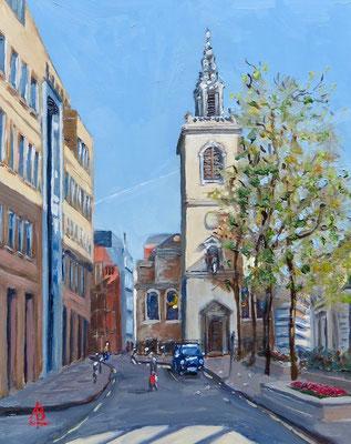 Wren's Lantern, St James Garlickhythe, City of London - Oil, 10 x 8 inches (25 x 20 cm).