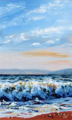 Tumbling wave - Acrylic on card, 10 x 6 inches (25 x 15 cm). £95 with mount.