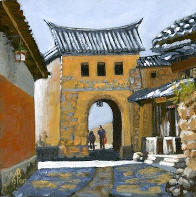 Village gateway near Dali, Yunnan province, China (small version) - Acrylic.  Private client, USA