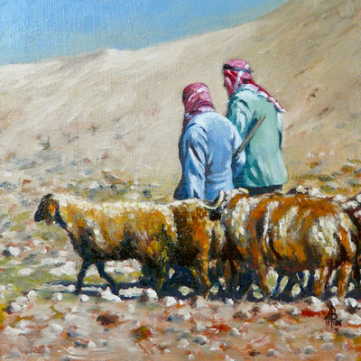 Syrian shepherds - Oil, 8 x 8 inches (20 x 20 cm).  Sold through Art in the City exhibition 2018