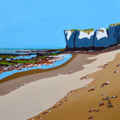 SOLD - Chalk deposits, Botany Bay, Kent - oil on gessoed card, 8 x 8 inches (20 x 20 cm).  Private client.