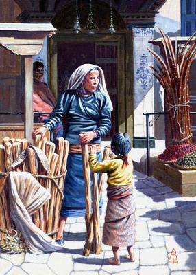 Firewood Seller and Daughter, Kathmandu - Acrylic.  Private client, The Netherlands