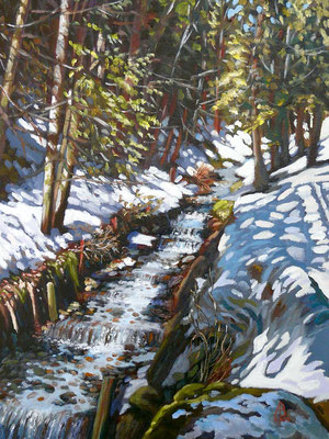 Alpine stream 2 - Oil on canvas board, 16 x 12 inches - £475 unframed (frame may be available)