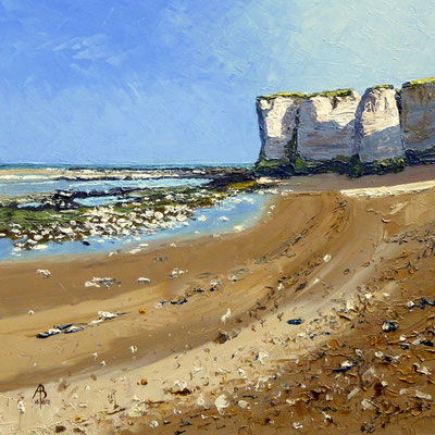Chalk deposits, Botany Bay, Kent - Oil on Ambersand board, 12 x 12 inches (30 x 30 cm).