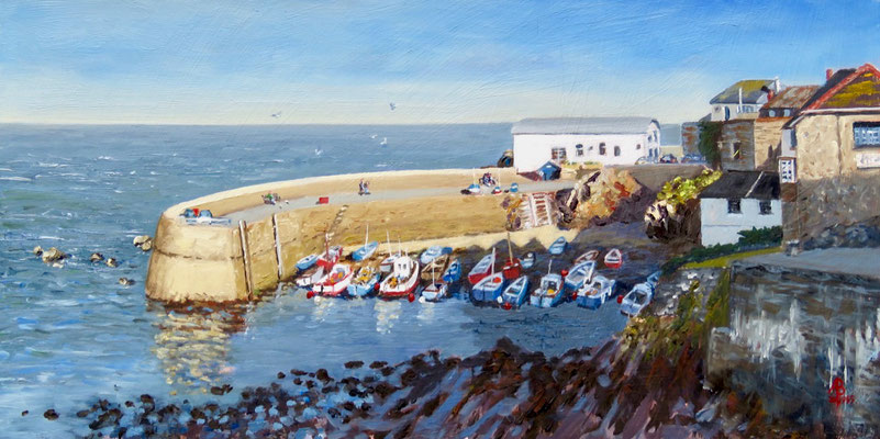Coverack, South Cornwall - Oil, 8 x 16 inches (20 x 41 cm).