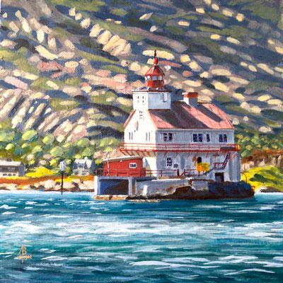 Stabben lighthouse, Norway - Oil, 8 x 8 inches (20 x 20 cm). SALE - £200 unframed.