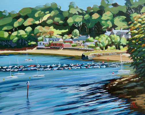 Summer on the Helford River, South Cornwall - Acrylic, 8 x 10 inches (20 x 25 cm)