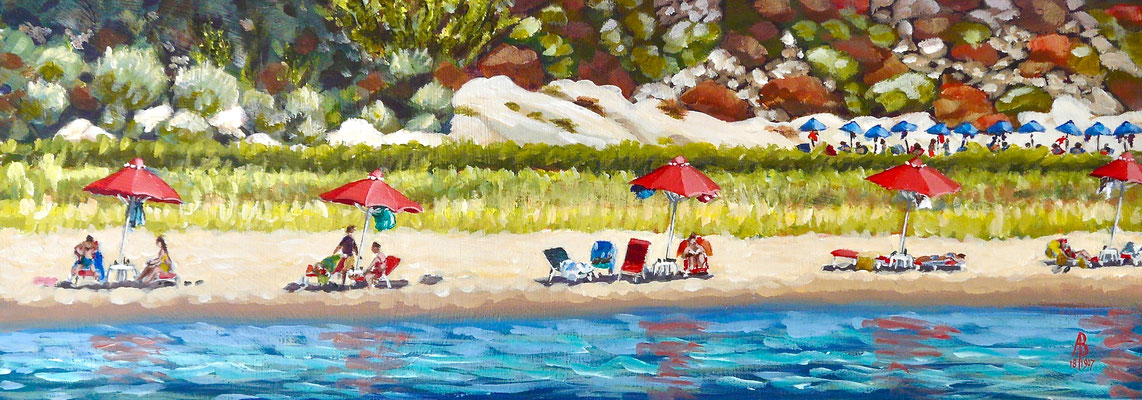 We're having a heatwave - Acrylic, 6 1/4 x 17 1/4 inches (16 x 44 cm).  SALE - £200 unframed.
