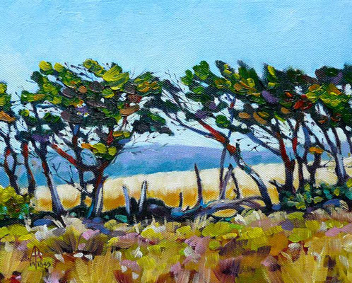 Cornfields through the trees - Oil on canvas board, 10 x 8 inches - Sold at exhibition