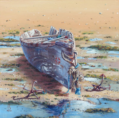 Old man of the sea - Acrylic, 12 x 12 inches. Highly Commended (Best of Hampshire Artists exhib 2012) - Sold to private customer