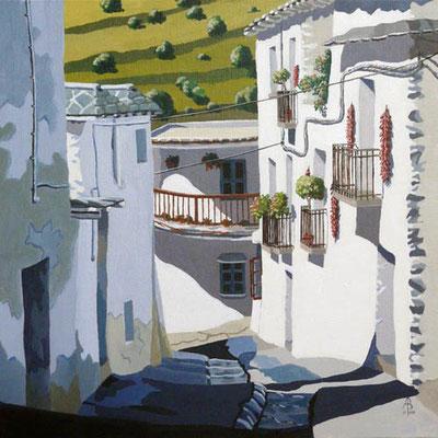 Village street, Las Alpujarras, Spain - Acrylic.  Private client