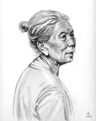 Elderly woman, Bali - Graphite, 10 x 8 inches (25 x 20 cm)