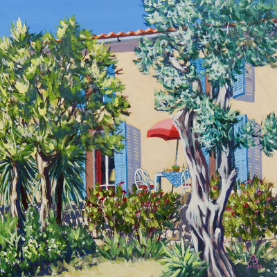 Lunch will be on the terrace - Acrylic, 12 x 12 inches (30 x 30 cm).  Sold through exhibition.