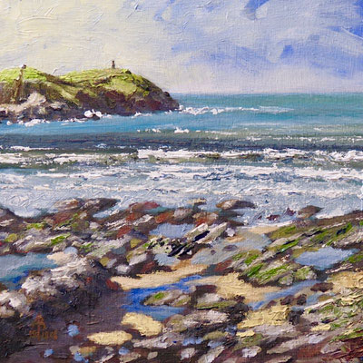 Stepper Point from Greenaway, Trebetherick, N Cornwall - Oil on canvas board, 8 x8 inches (20 x 20 cm). Through exhibition 2019.