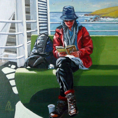 Reader on a ferry - Sold at UA Exhibition, Bankside Gallery, 2015